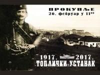 Век од јединог устанка у поробљеној Европи, званични плакат комеморације Топличког устанка (Бошко Чупић)