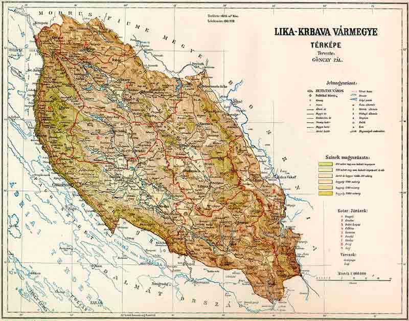 Лика и Крбава, мађарска историјска мапа Фото: Википедија