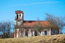 Црква Светог Георгија, Кусоње, зима 2009, после разарања у прогону Срба 1991-1995. године Фото: Википедија