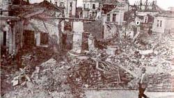 Лесковац после савезничког бомбардовања на рођендан Краља Петра, 6. септембра 1944. Фото: Народни музеј Лесковца, Вечерње новости