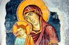 Богородица са Христом Хранитељем, 13. век (Богородица Љевишка), Призрен, детаљ Фото: Светигора